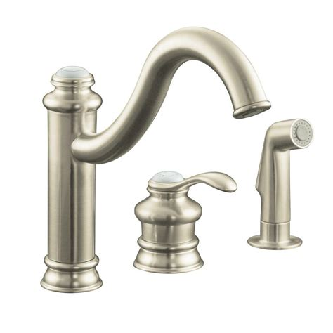 kohler brushed nickel kitchen faucet kohler fairfax single handle standard kitchen faucet with side sprayer and remote valve in