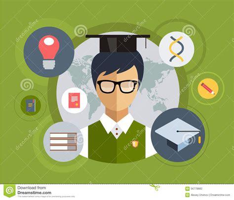 design elements edu flat student for school vector illustration stock vector