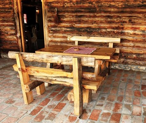 bench srbija rustic wooden benches and table in rural serbia stock