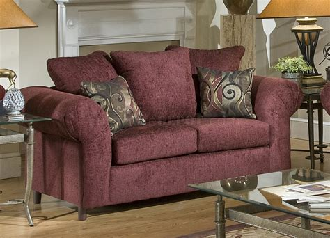 Burgundy Loveseat by Burgundy Fabric Traditional Sofa Loveseat Set