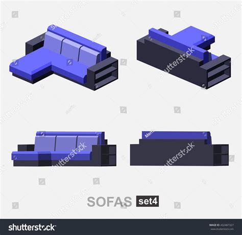 sofa isometric view set isolated isometric sofa vector stock vector 432487327