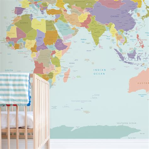 world map wallpaper mural for room