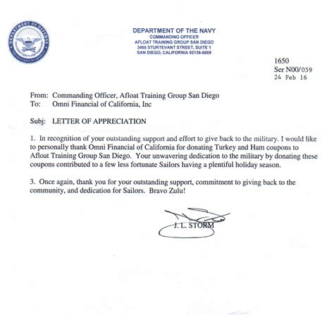navy letter of appreciation template omni loans 174 in san diego ca