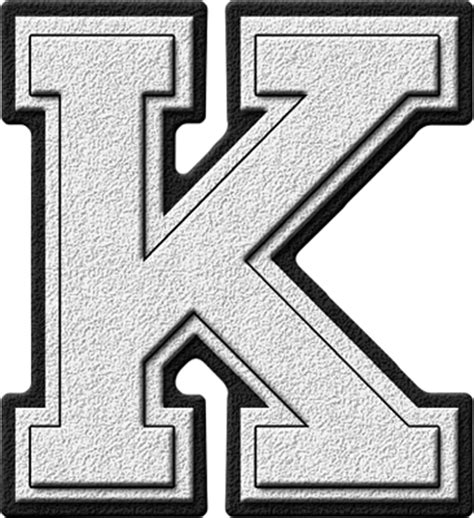 College With Letter K Presentation Alphabets White Varsity Letter K
