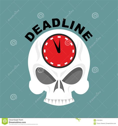 Not Enough Time In deadline skull with a clock not enough time vector