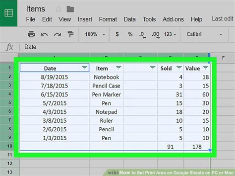printable area google sheets how to set print area on google sheets on pc or mac 7 steps