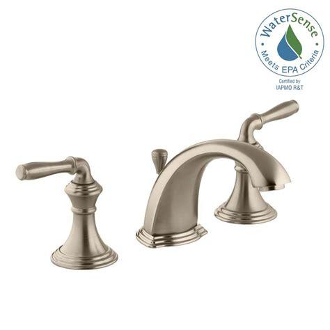 brushed bronze bathroom faucets kohler devonshire 8 in widespread 2 handle low arc