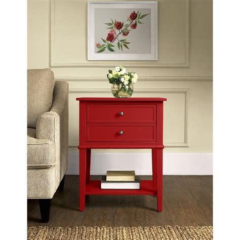 red accent tables 2 drawer accent table in red 5062296pcom