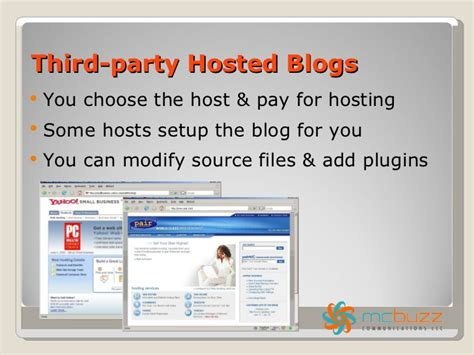 a service on your own using a free blogging service vs blogging on your own hosted site