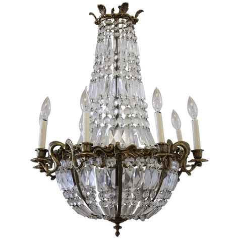 Antique Chandelier Crystals For Sale Antique Gilt Bronze Empire Style Chandelier With Crystals For Sale At 1stdibs
