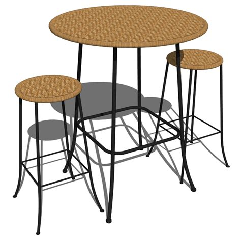 table for bar stools cafe wicker table and stools 3d model formfonts 3d