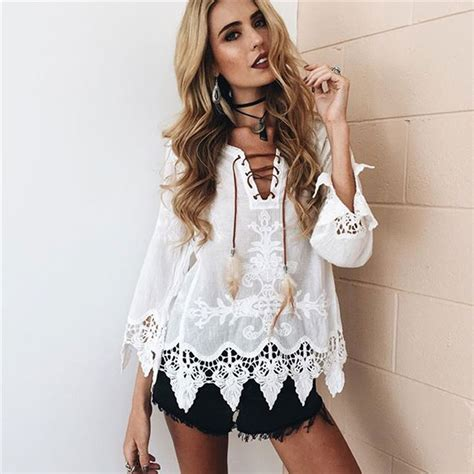 black patchwork lace v neck slim dacron blouse blouses tops lace up blouse shirt women sexy v neck long sleeve blouse