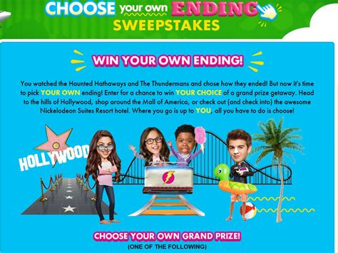 Ending Sweepstakes - nickelodeon s choose your own ending sweepstakes