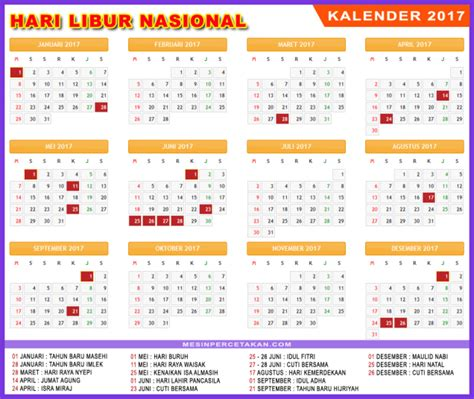 Kalender Libur Nasional 2017 2018 traveloista blog