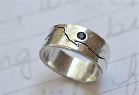 rustic mountain wedding band ring eco friendly by