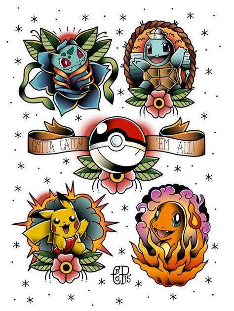 cartoon tattoo artist uk pok 233 mon tattoo flash print tattoo flash tattoo and pok 233 mon