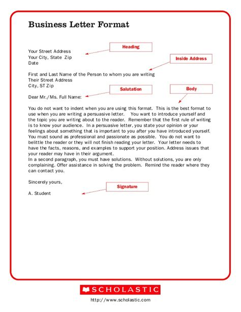 business letter heading address format bussiness letter