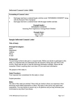 irb informed consent template exle letter forms and templates fillable