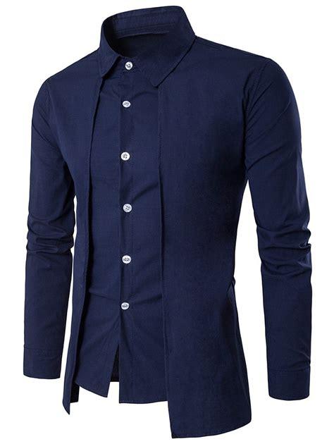 design a long sleeve shirt cadetblue l faux twinset panel design long sleeve shirt