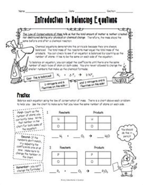 Balancing Chemical Equations Worksheet Middle School by Introduction To Balancing Chemical Equations Worksheet