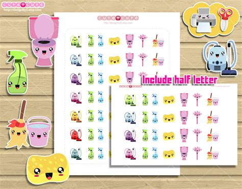 printable kawaii planner stickers kawaii chores printable planner stickers for your life