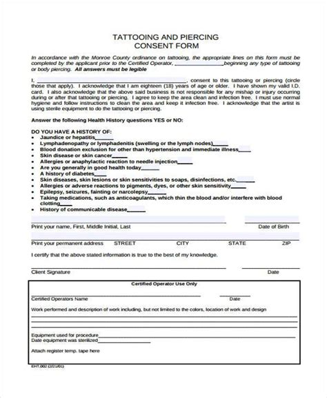 tattoo paperwork tattoo consent form tattoo collections