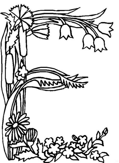 alphabet coloring pages with flowers alphabet flower e coloring pages free printable coloring