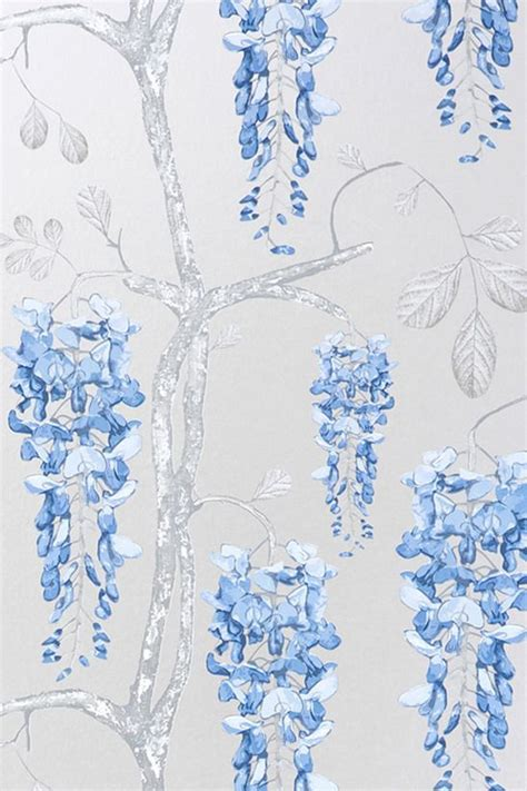 wallpaper wisteria design image of wallpaper wisteria silver blue 4640