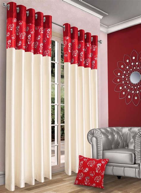 red and cream curtains stylish contemporary faux silk ringtop eyelet fully lined