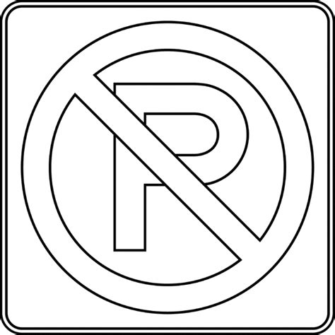 Road Sign Outlines by No Parking Outline Clipart Etc