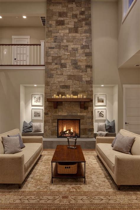living room with fire place fireplace spacios living room cream sofa great stone