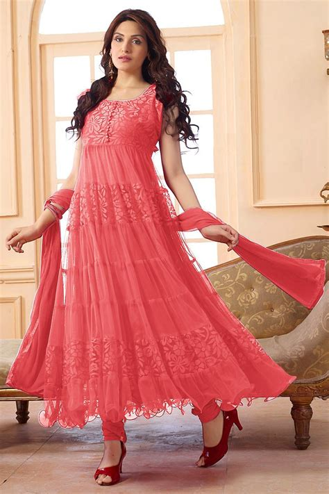 Ethnic Wear Net Peach Anarkali Suit   EBSFSK09101B