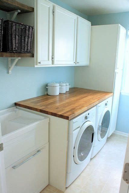 utility sink with cabinet and countertop laundry room butcher block countertops salvaged cabinets