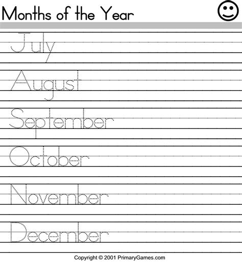 esl printable worksheets months of the year months of the year printables new calendar template site