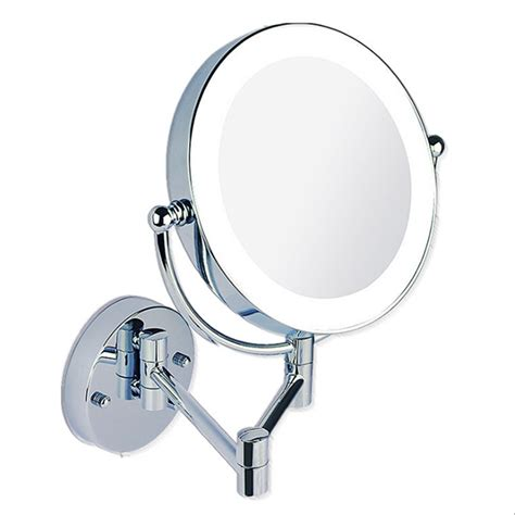 extending magnifying bathroom mirror makeup mirrors led wall mounted extending folding double