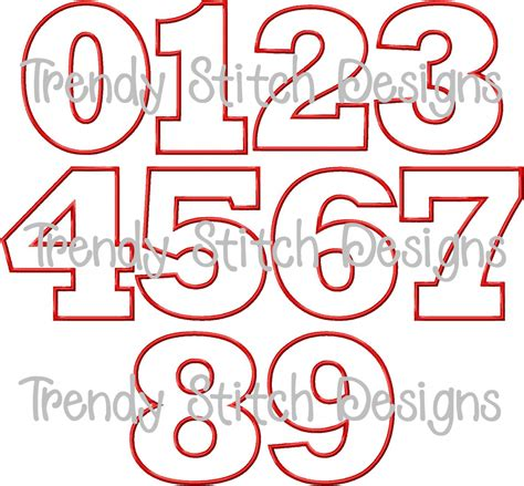 birthday numbers applique design machine embroidery font
