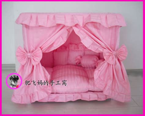 Puppy Pet Bed House L Pink princess pet cat handmade bed house pink color size