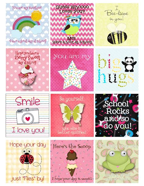 printable lunchbox notes a pocket full of lds prints back to school freebie
