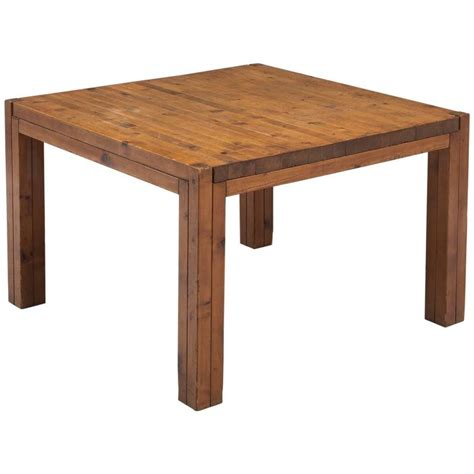 italian square dining table in patinated pine for sale at