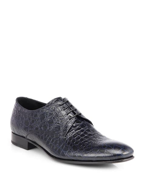 giorgio armani embossed leather laceup dress shoes in blue