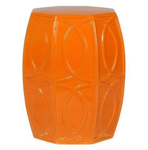 Orange Garden Stool by Modern Coastal Bright Orange Treillage Garden Seat Stool Kathy Kuo Home