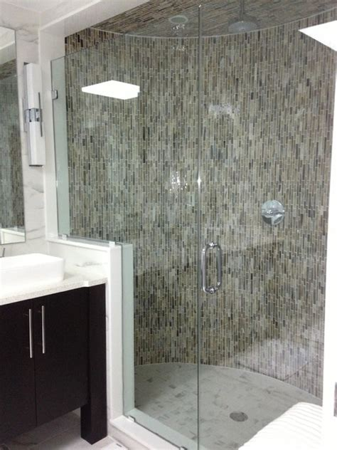 Oversized Shower Large Shower With Glass Mosaics Modern Bathroom New