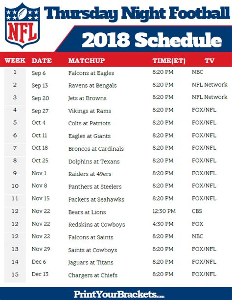 printable schedule of nfl games nfl thursday night football schedule 2018 printable