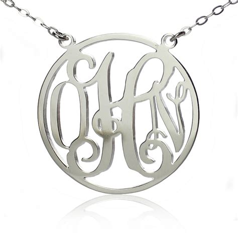 monogram name necklace circle silver initial monogram name necklace