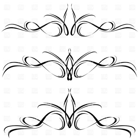 ornament design elements vector set line clipart design element pencil and in color line