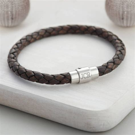 boy s leather personalised clasp bracelet