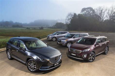 Compare Kia Sorento And Hyundai Santa Fe by Seven Seat Suv Comparison Review New Mazda Cx 9 Vs Toyota