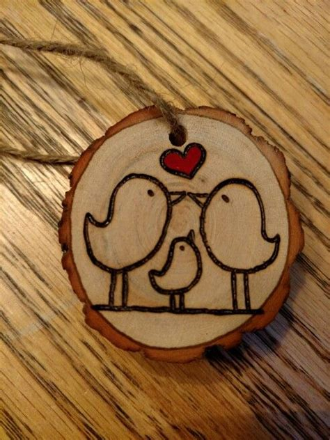 rustic love birds wood burned christmas ornament my