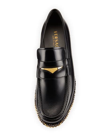black loafers with gold studs versace studded wedge leather loafer black gold