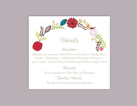 wedding detail card template free diy wedding details card template editable word file